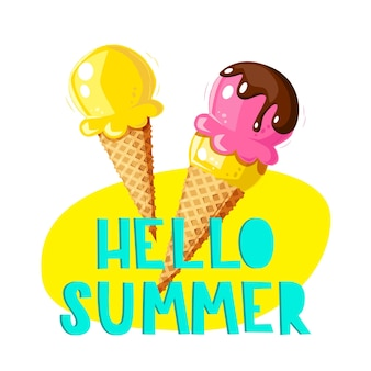 Ice cream summer card in cone with fruit, ice lollies.