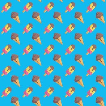 Ice cream summer seamless pattern