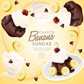 Ice cream sundae set, chocolate banana sundae.