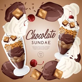 Ice cream sundae set, chocolate sundae.
