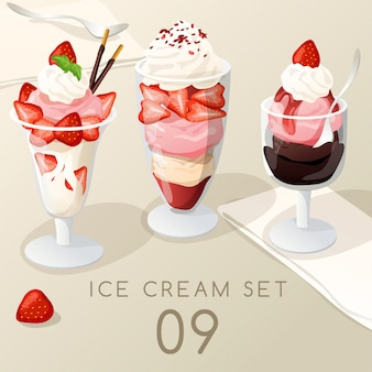 Ice cream sundae set .