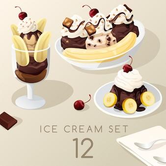Ice cream sundae set .