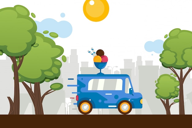 Ice cream sweets van move around town,  illustration. on car roof figure cartoon ice cream scoops in bowl. store on wheels