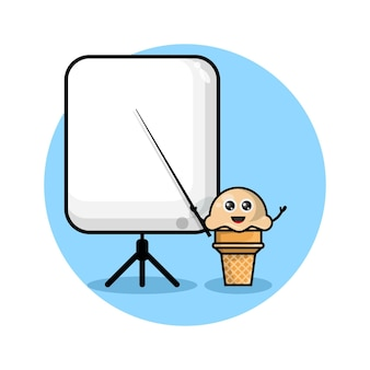 Ice cream teacher cute character logo