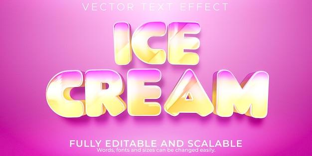 Текстовый эффект мороженого, редактируемый мягкий и розовый стиль текста