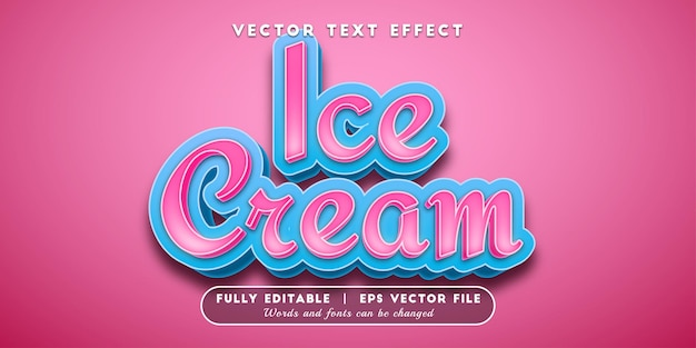 Ice cream text effect, editable text style