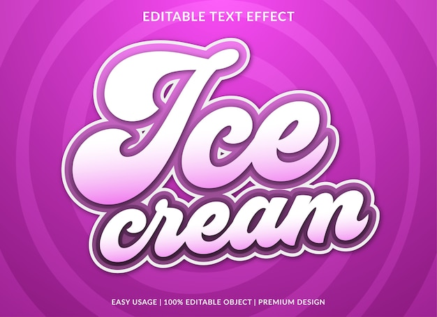 Ice cream text style template