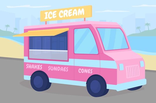 Ice cream truck on beach flat color illustration