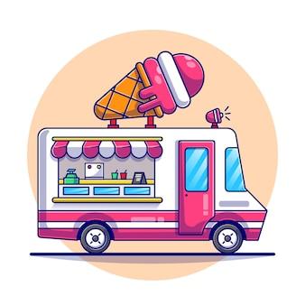 Иллюстрация шаржа грузовика мороженого.