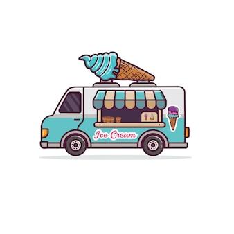 Иллюстрация шаржа грузовик мороженого