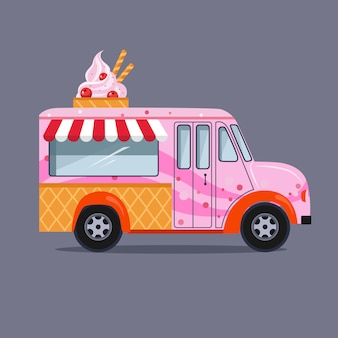 Ice cream truck in flat style