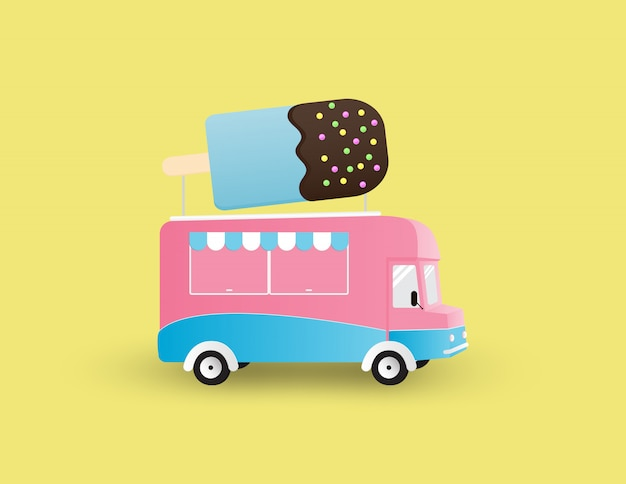 Ice cream truck isolated on yellow background.