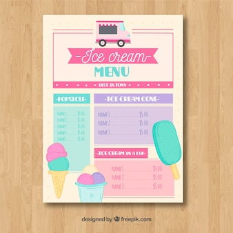 Ice cream truck menu with lovely style