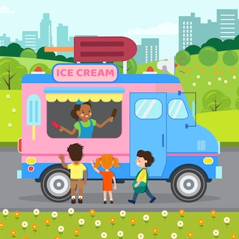 Ice cream truck, store flat vector illustration
