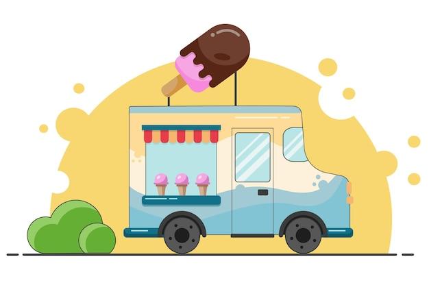 아이스크림 트럭. 길거리 음식. 만화 벡터 일러스트 레이 션