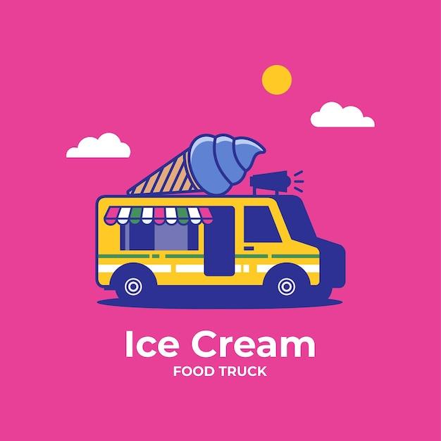 아이스크림 벡터 일러스트와 함께 아이스크림 트럭 밴 모바일 푸드 트럭