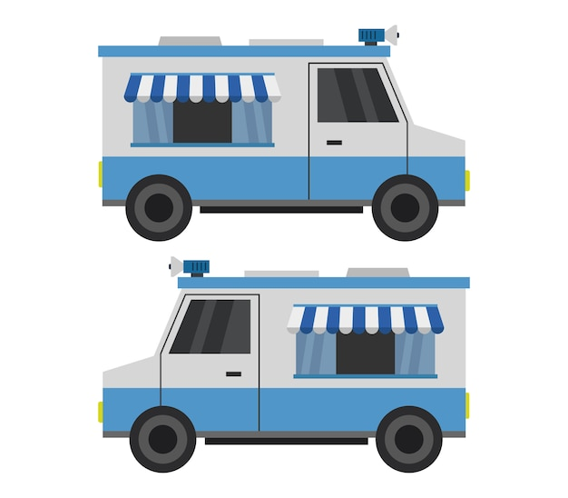 Ice cream truck on white