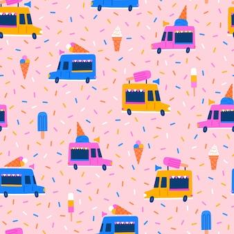 Ice cream trucks cones and eskimo hand drawn seamless pattern