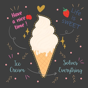 Ice cream typography design.