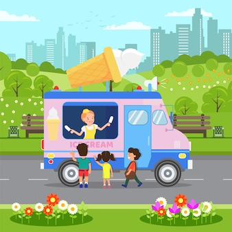 Ice cream van, food truck vector illustration
