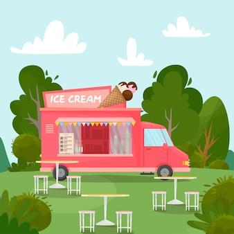Фургон мороженого в парке.