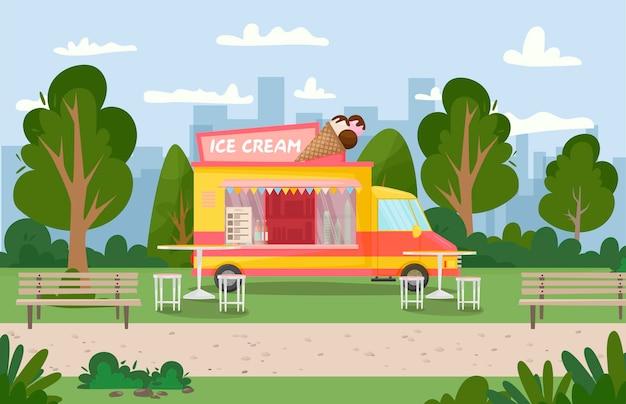 Ice cream van in the park roof cone