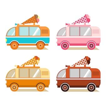 Мороженое ван. уличная еда и мобильный магазин. конус с шариками мороженого.