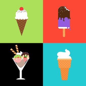 Набор векторных мороженого. мороженое в вафельном рожке, леденцы и замороженный десерт в стеклянной миске