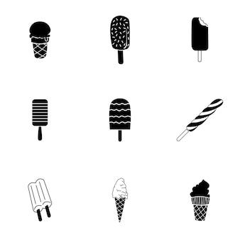 아이스크림 벡터입니다. 로고 디자인에 간단한 아이스크림 그림, 편집 가능한 요소를 사용할 수 있습니다.