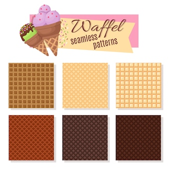 Ice cream waffel cone seamless vector patterns