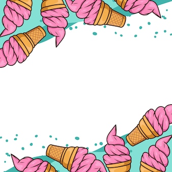 Мороженое вафельный фон мультфильм вектор изолированные
