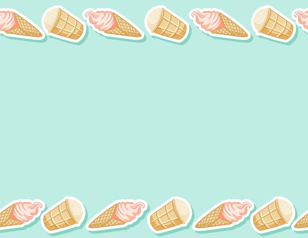 Ice cream in waffle cone seamless pattern. cute cartoon style background texture tile
