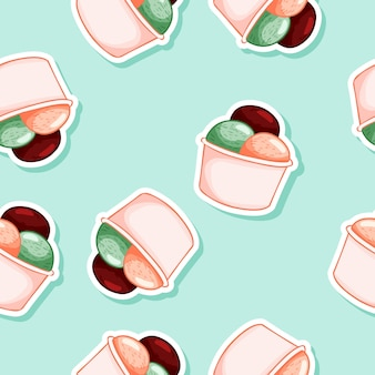 Ice cream in waffle cone seamless pattern