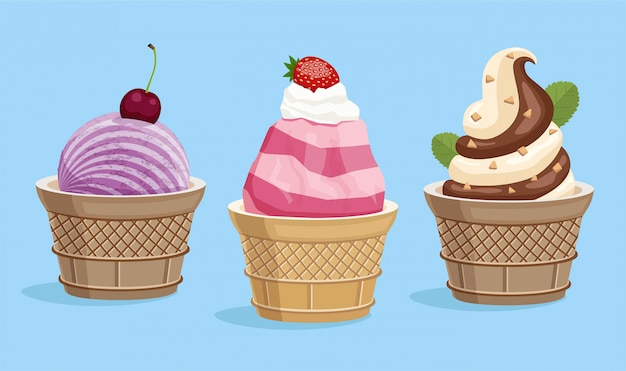 Ice cream in a waffle cup collection,   illustration.