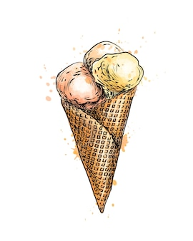 Ice cream in a waffle cup from a splash of watercolor, hand drawn sketch.  illustration of paints