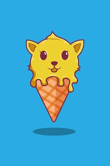 Мороженое с кошкой иллюстрации шаржа