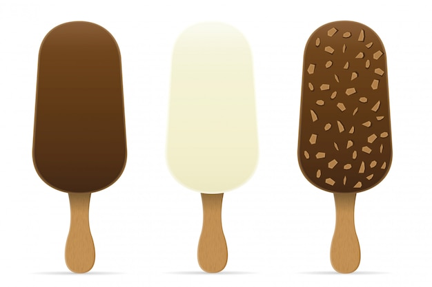 Ice cream with chocolate glaze on stick vector illustration