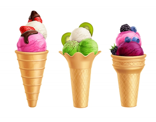 Ice cream with fruits realistic set