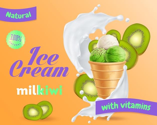 Gelato con kiwi e annuncio di latte