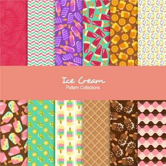 Ice creams patterns set