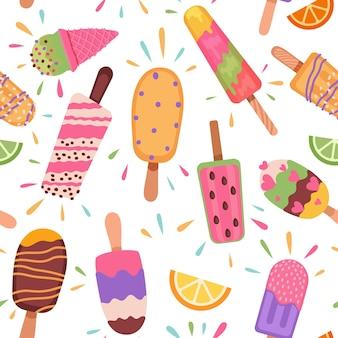 Мороженое бесшовные модели. летние каникулы с фруктовым мороженым, рожками мороженого и замороженным шоколадным десертом. мультфильм сладкая еда вектор текстуры. иллюстрация мороженое вкусное, десерт бесшовные модели
