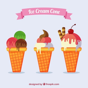 Ice-creams with cones