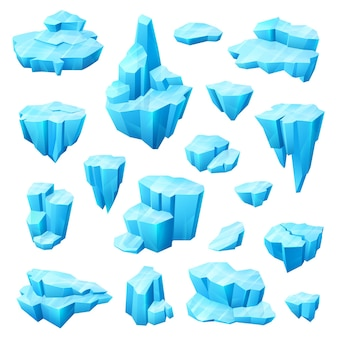 겨울 디자인의 얼음 결정, 빙하와 빙산 만화 세트