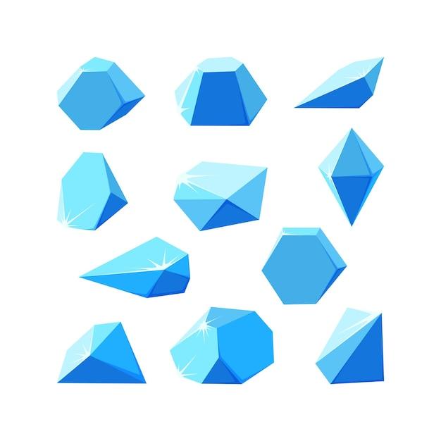 조각으로 부서진 얼음 결정 박살난 파란색 결정 세트 얼음으로 만든 깨진 보석