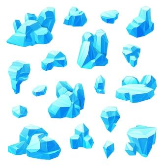 Ice crystals cartoon set of frozen water.