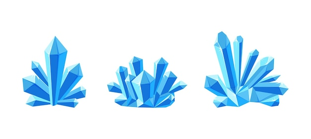 Ice crystals or gem stones with shade set of crystal druses made of blue mineral
