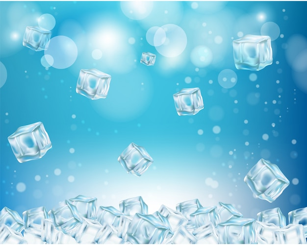 Ice cube abstract background vector illustration