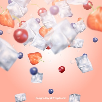 Фон кубика льда в реалистичном стиле с фруктами