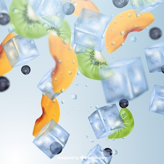 Ice cube background in realistic style with fruits