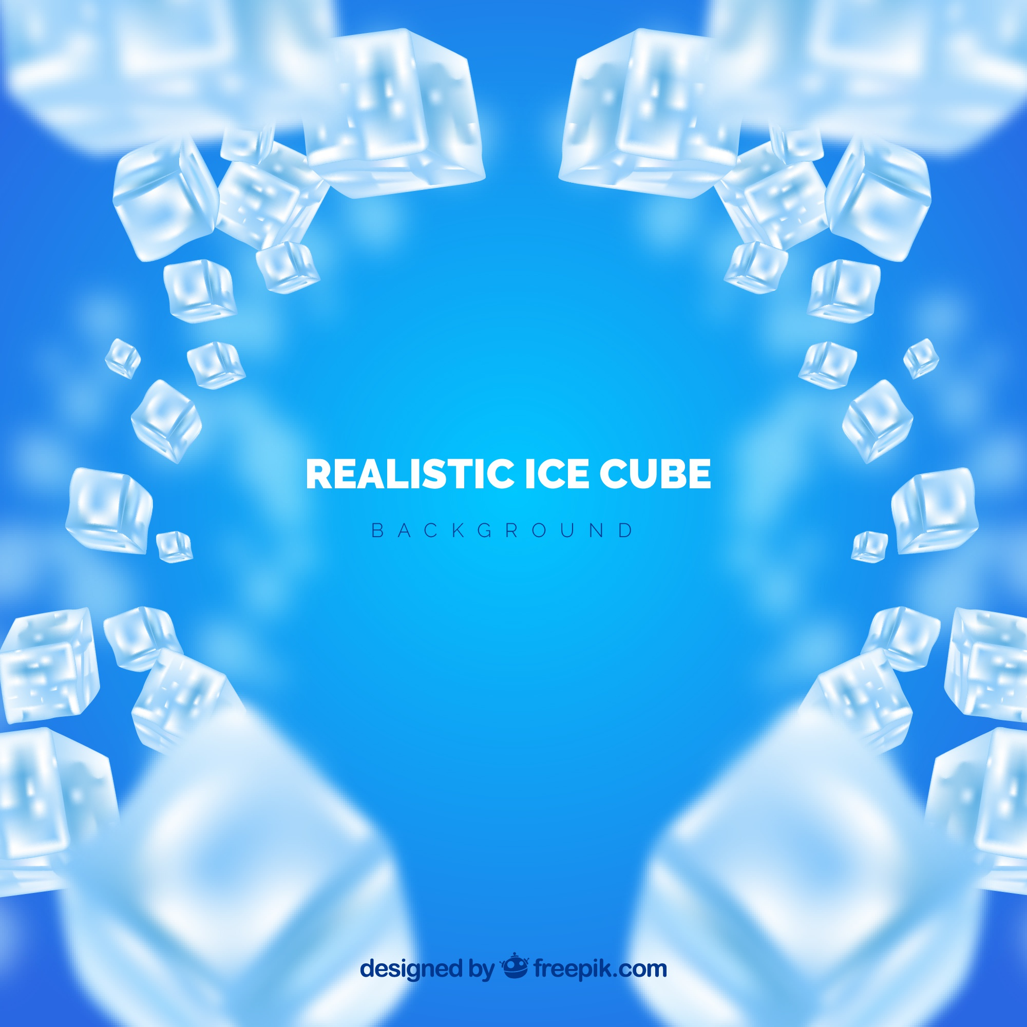 Ice cube background in realistic style